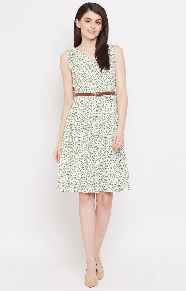 METTLE   Olive Printed Shift Dress