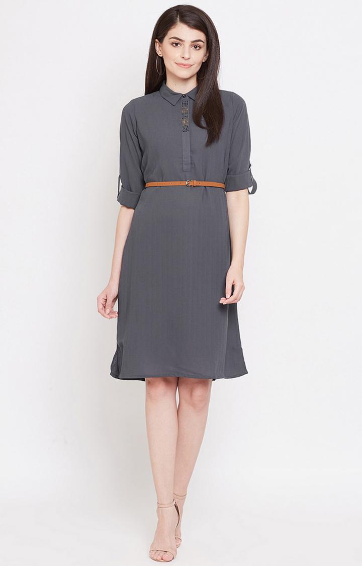METTLE   Dark Grey Solid Shift Dress
