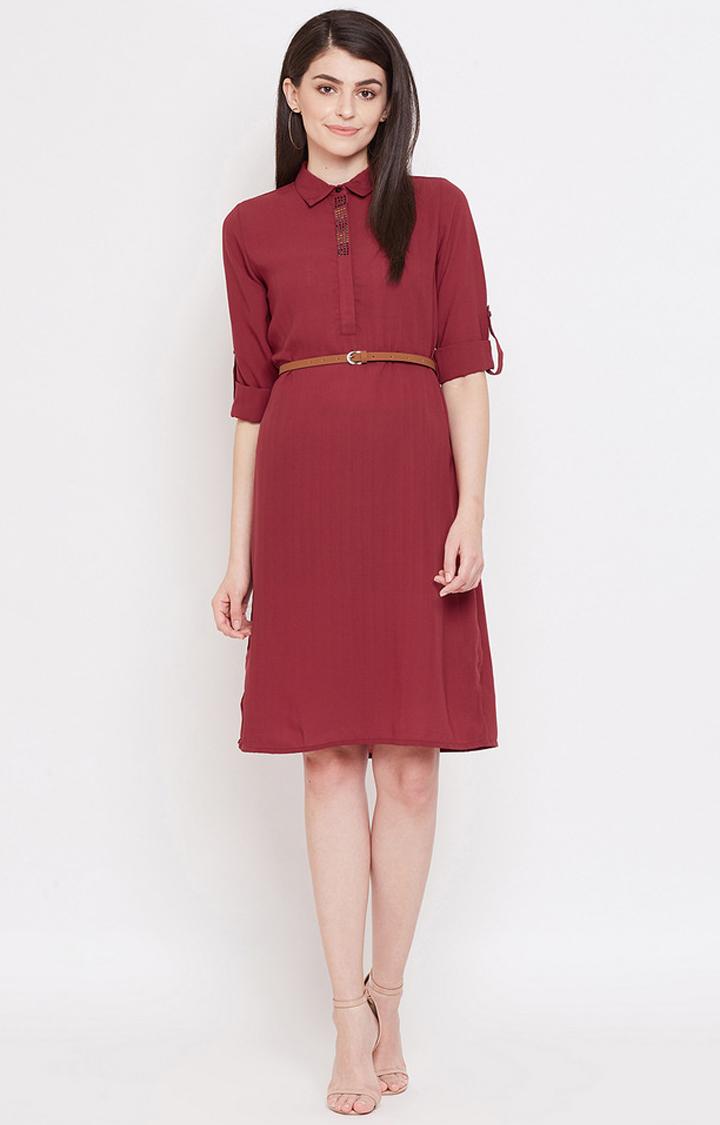 METTLE   Maroon Solid Shift Dress