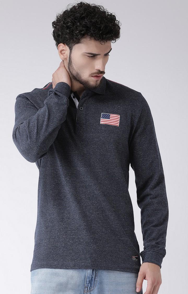 METTLE | Navy Melange Polo T-Shirt