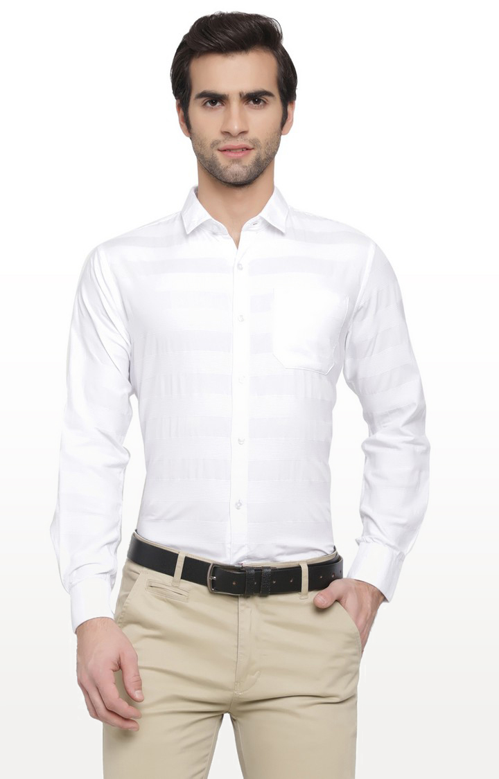 Cape Canary | White Striped Cotton Casual Shirt