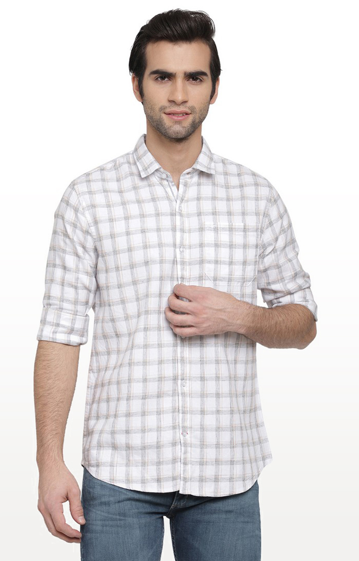 Cape Canary   White and Grey Checked Cotton Casual Shirt