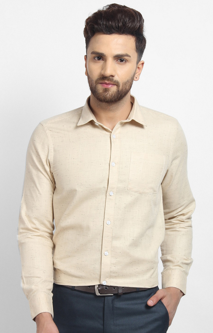 Cape Canary | Beige Printed Cotton Formal Shirt