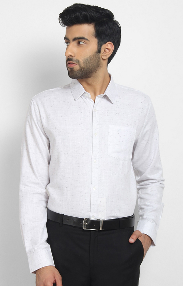 Cape Canary | White Printed Cotton Formal Shirt