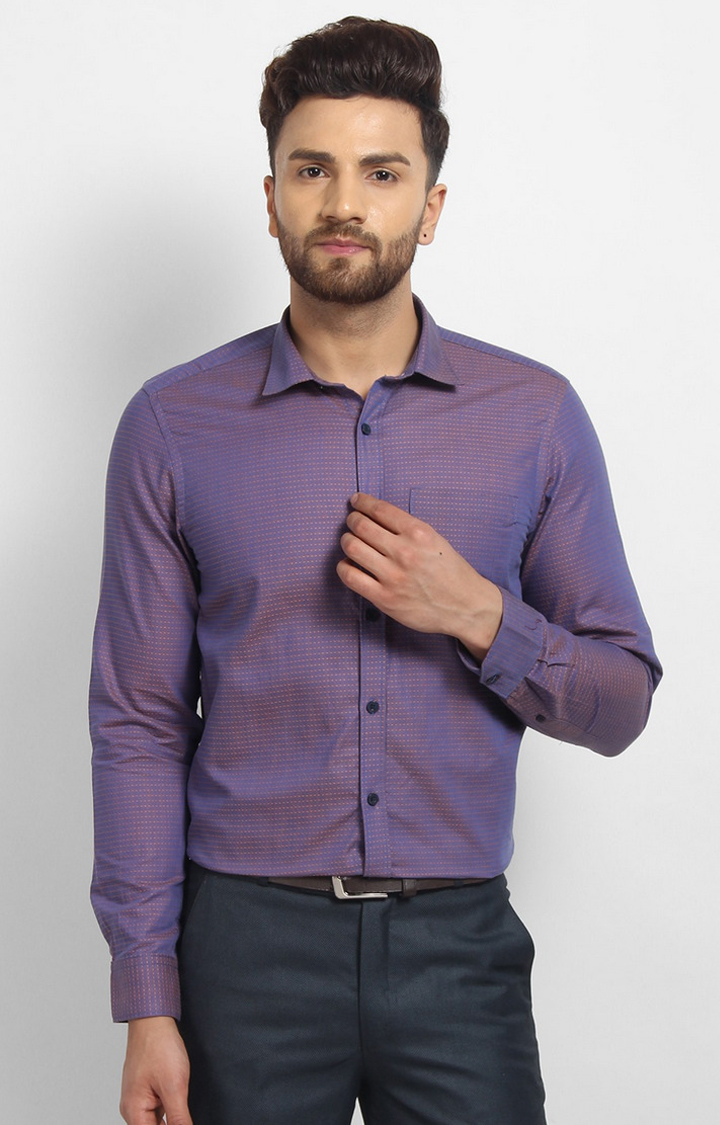 Cape Canary   Purple Printed Cotton Formal Shirt
