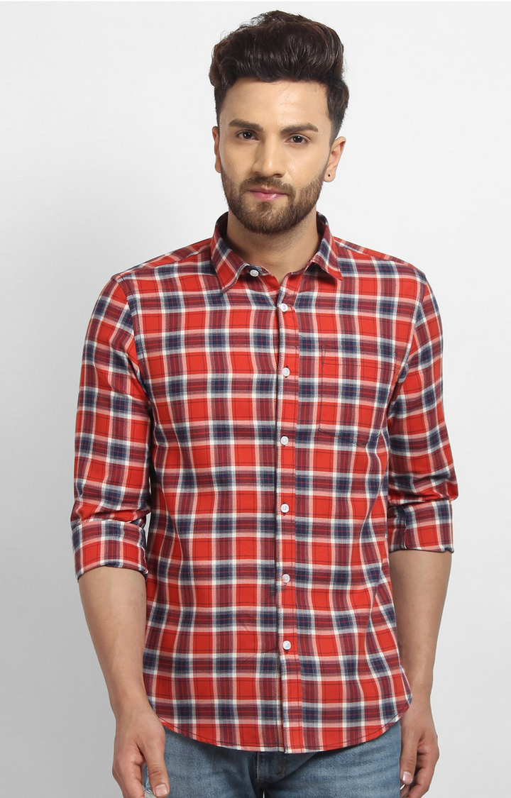 Cape Canary | Red Checked Cotton Casual Shirt
