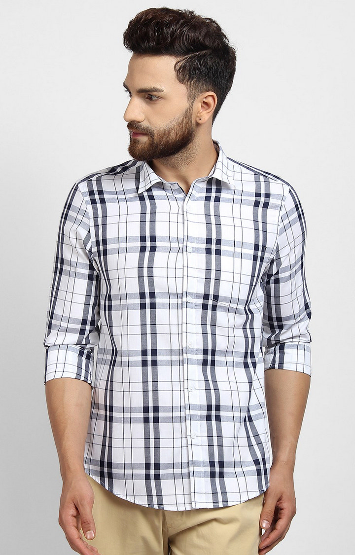 Cape Canary   White Checked Cotton Casual Shirt