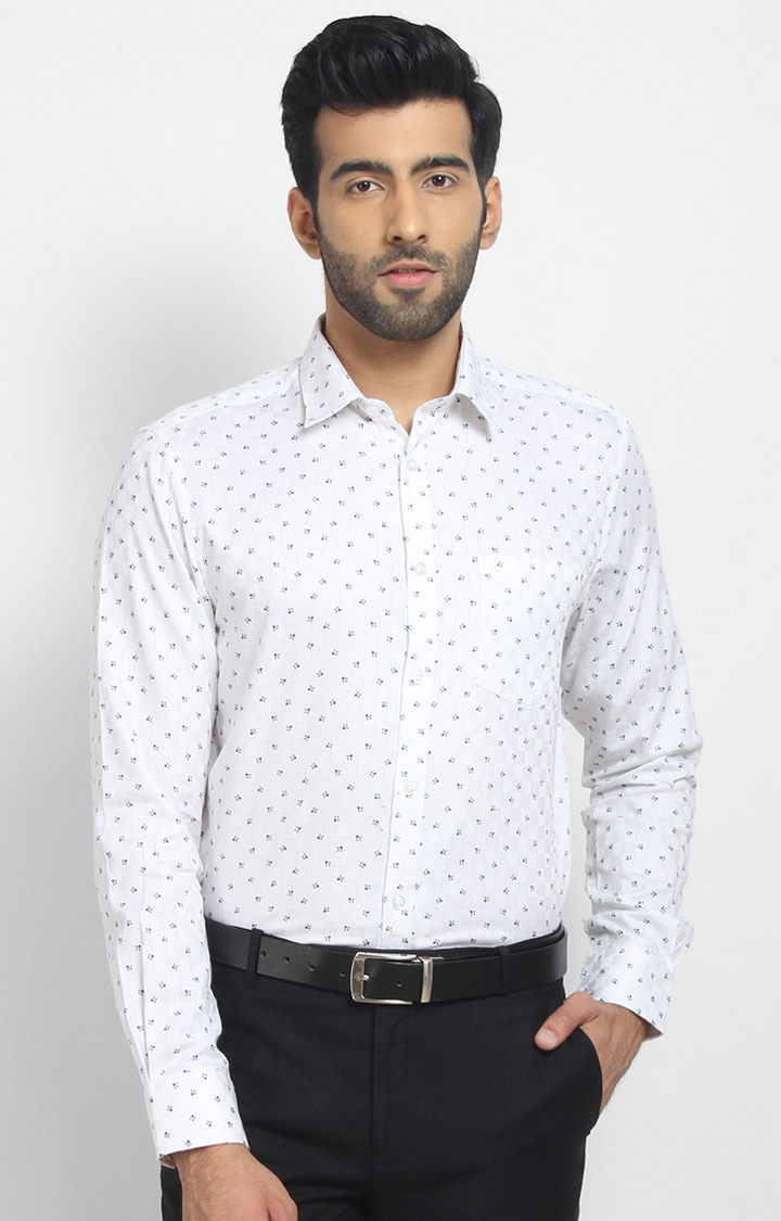 Cape Canary   White Printed Cotton Formal Shirt