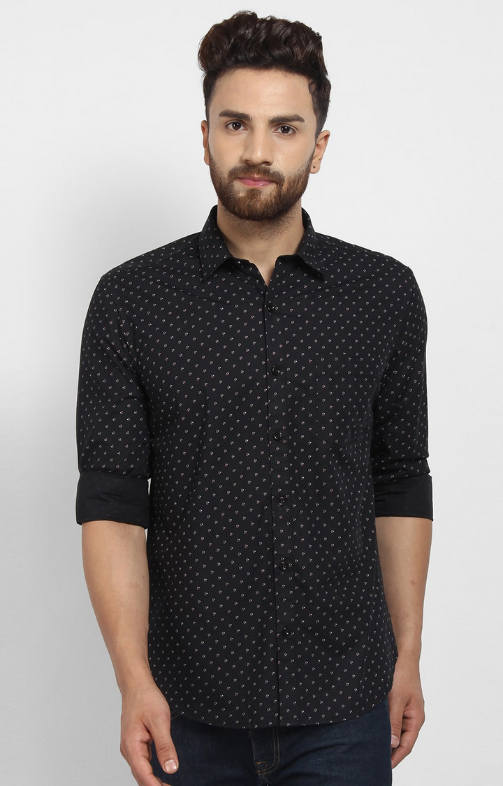 Cape Canary | Black Printed Cotton Casual Shirt