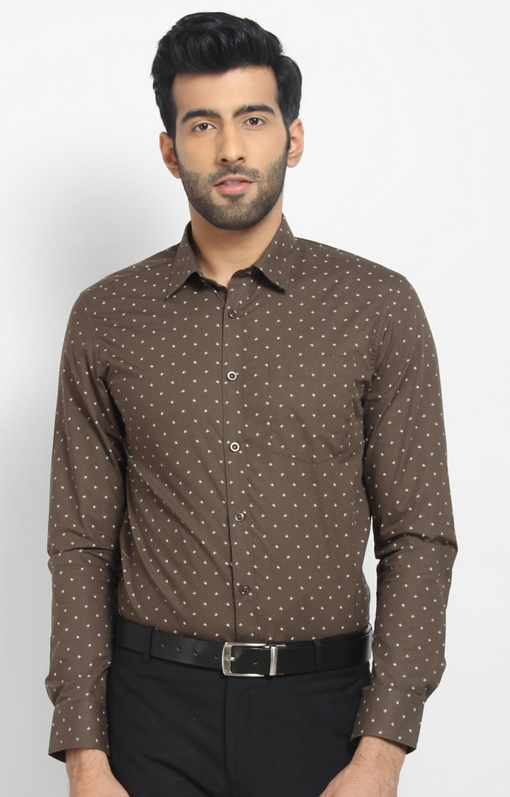 Cape Canary   Brown Printed Cotton Formal Shirt