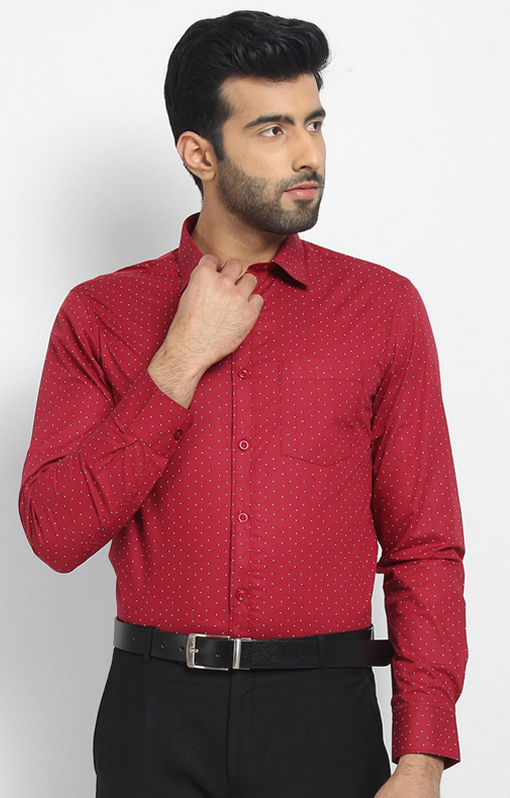 Cape Canary   Red Printed Cotton Formal Shirt