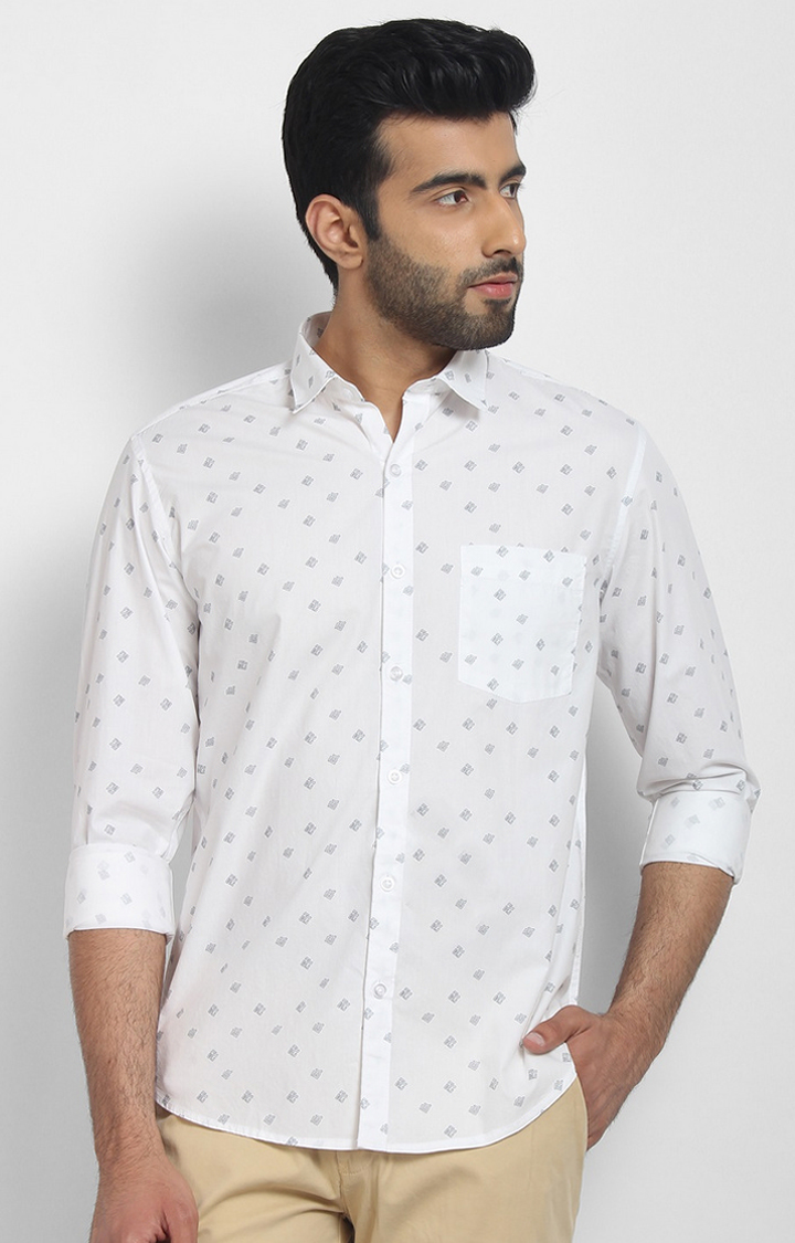 Cape Canary   White Printed Cotton Casual Shirt
