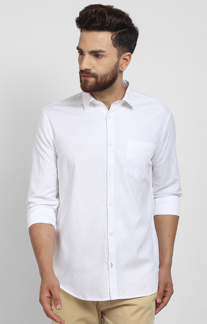 Cape Canary   White Solid Cotton Formal Shirt