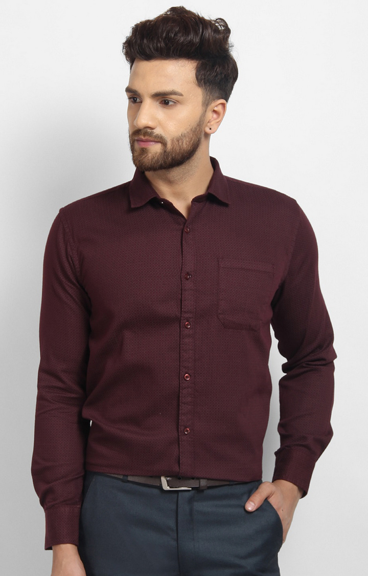 Cape Canary | Maroon Printed Cotton Formal Shirt
