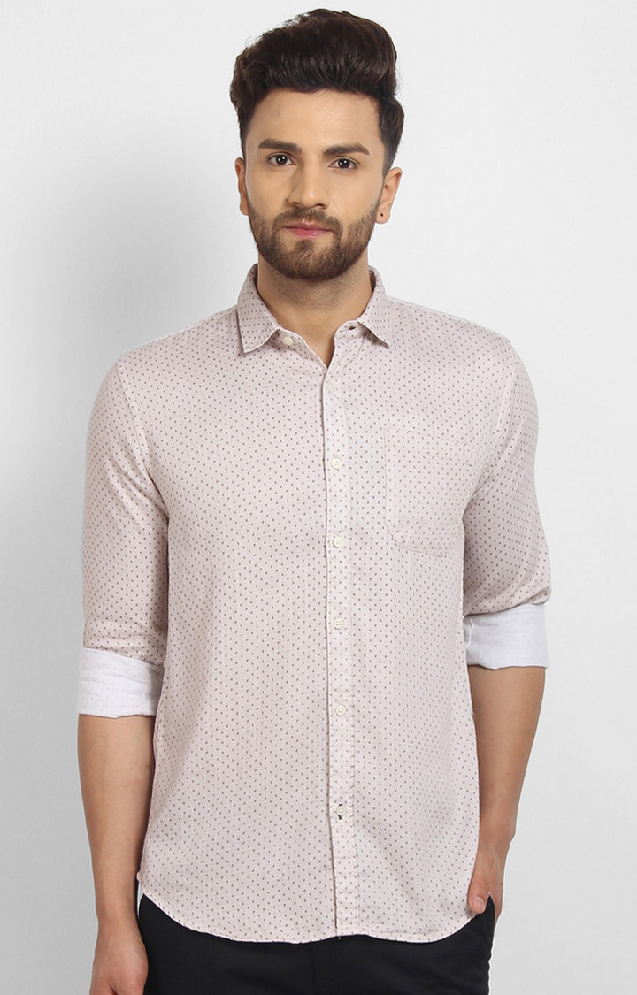 Cape Canary | Peach Printed Cotton Casual Shirt