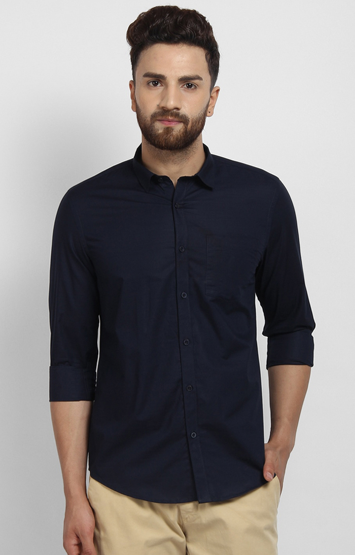 Cape Canary   Navy Solid Cotton Formal Shirt