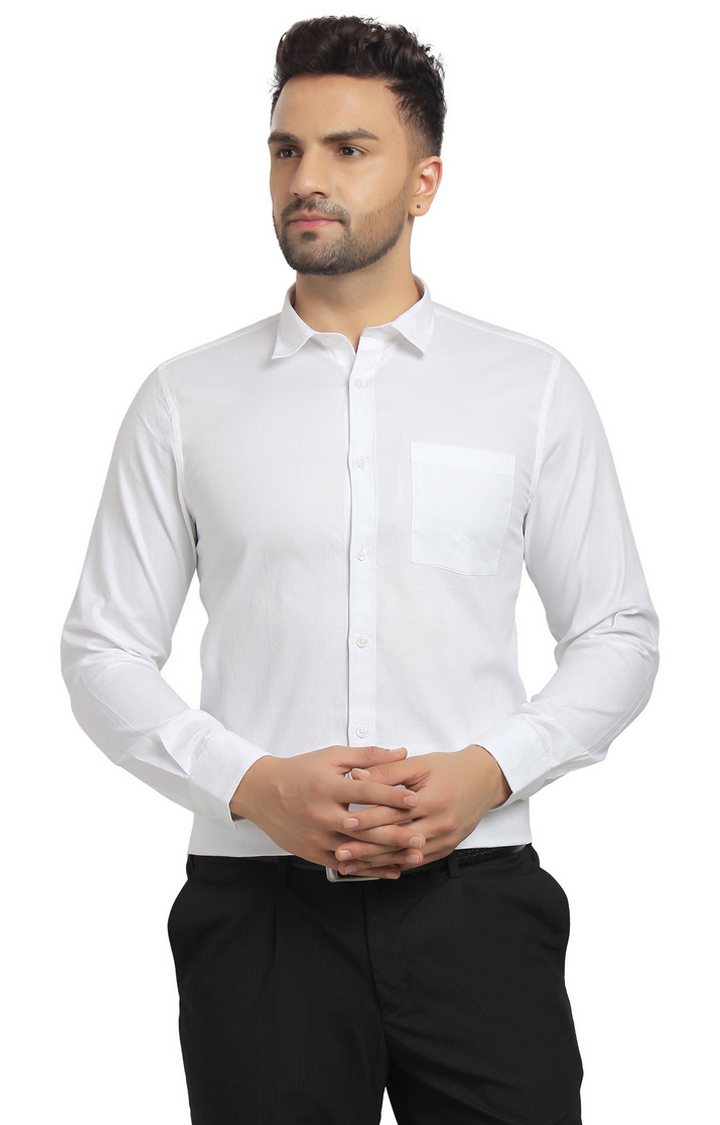 Cape Canary | White Solid Cotton Formal Shirt