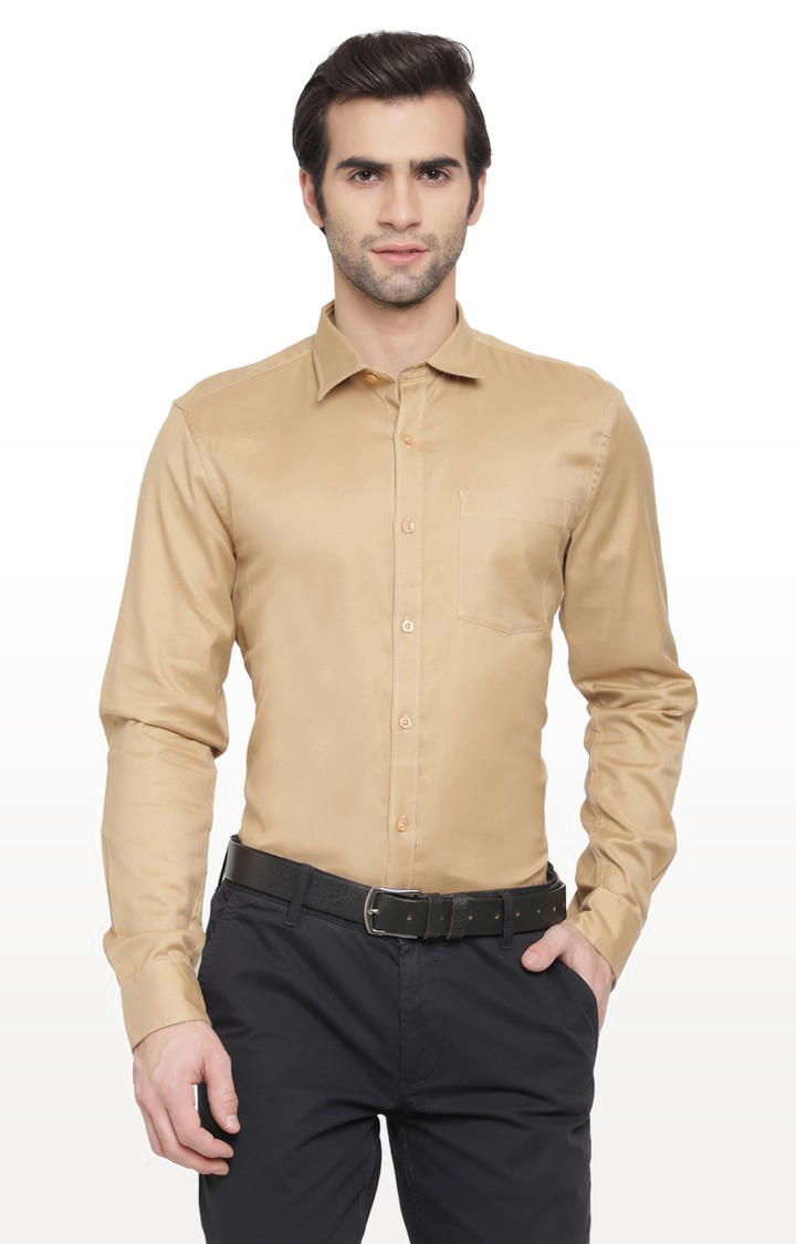 Cape Canary   Khaki Solid Cotton Formal Shirt