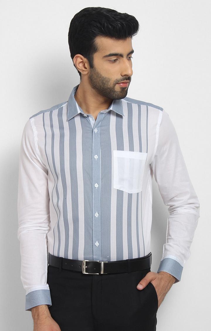 Cape Canary | Blue Striped Formal Shirt