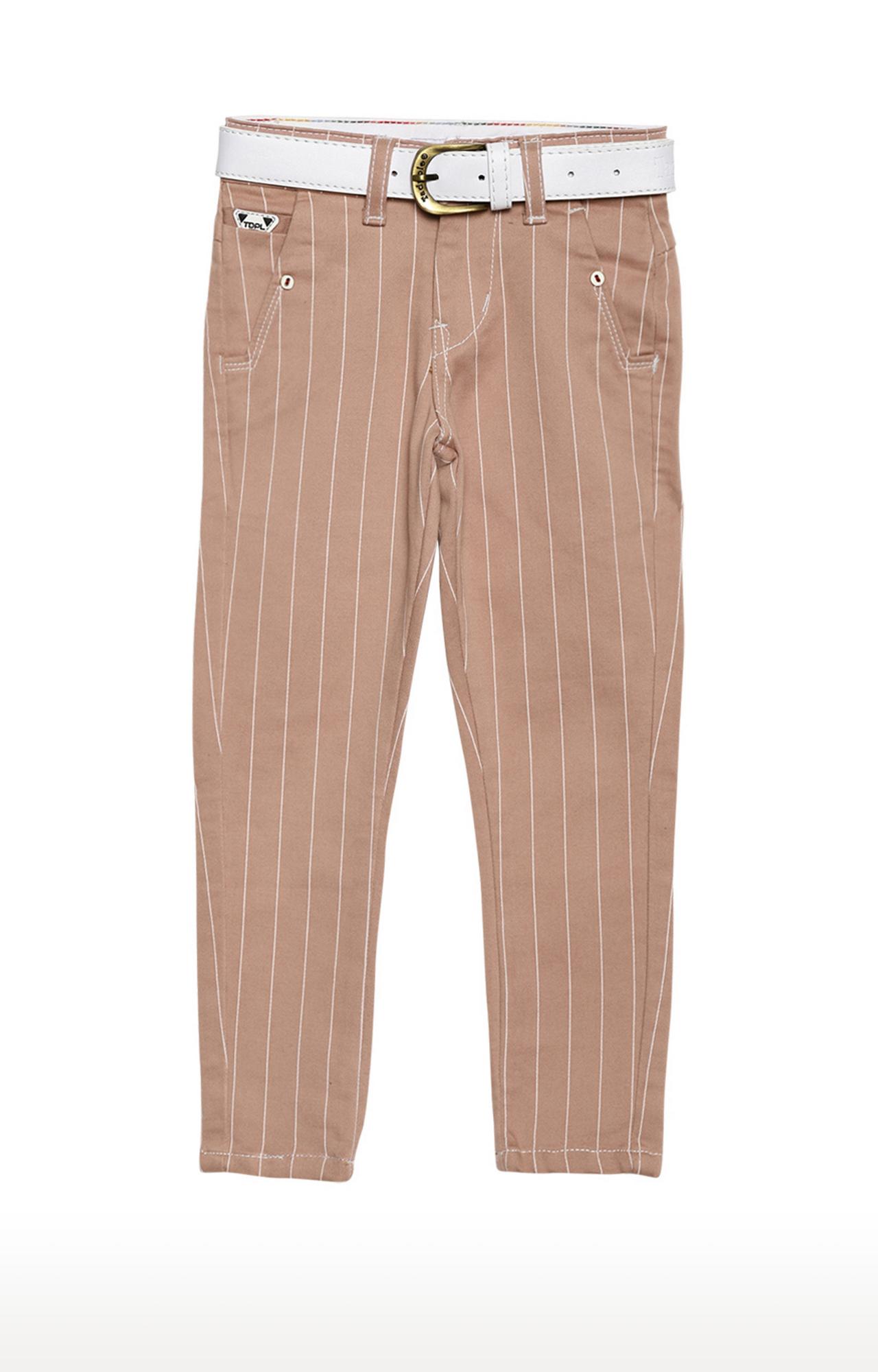 Tadpole | Peach Striped Regular-Fit Jeans