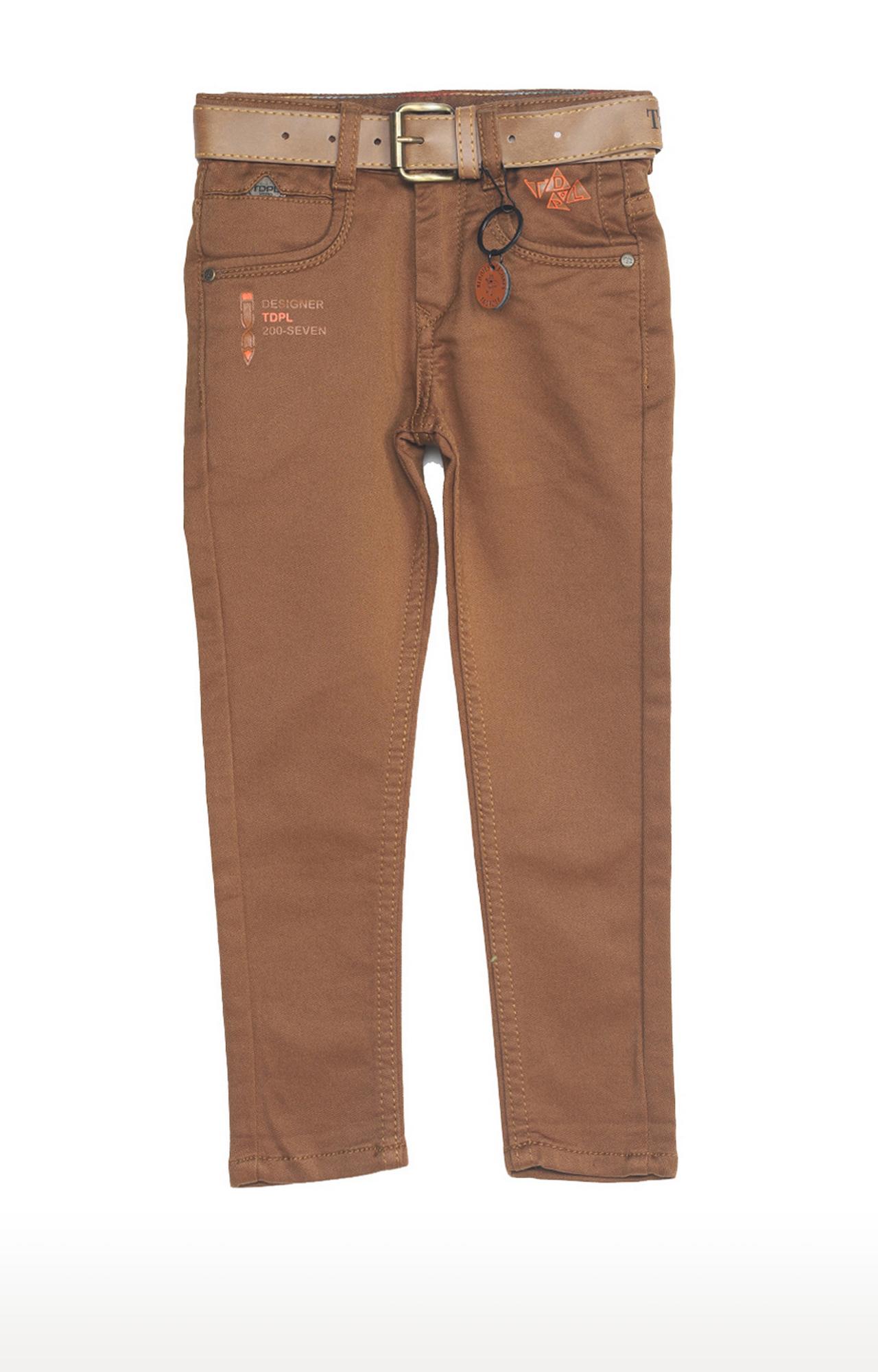 Tadpole | Brown Solid Regular-Fit Jeans