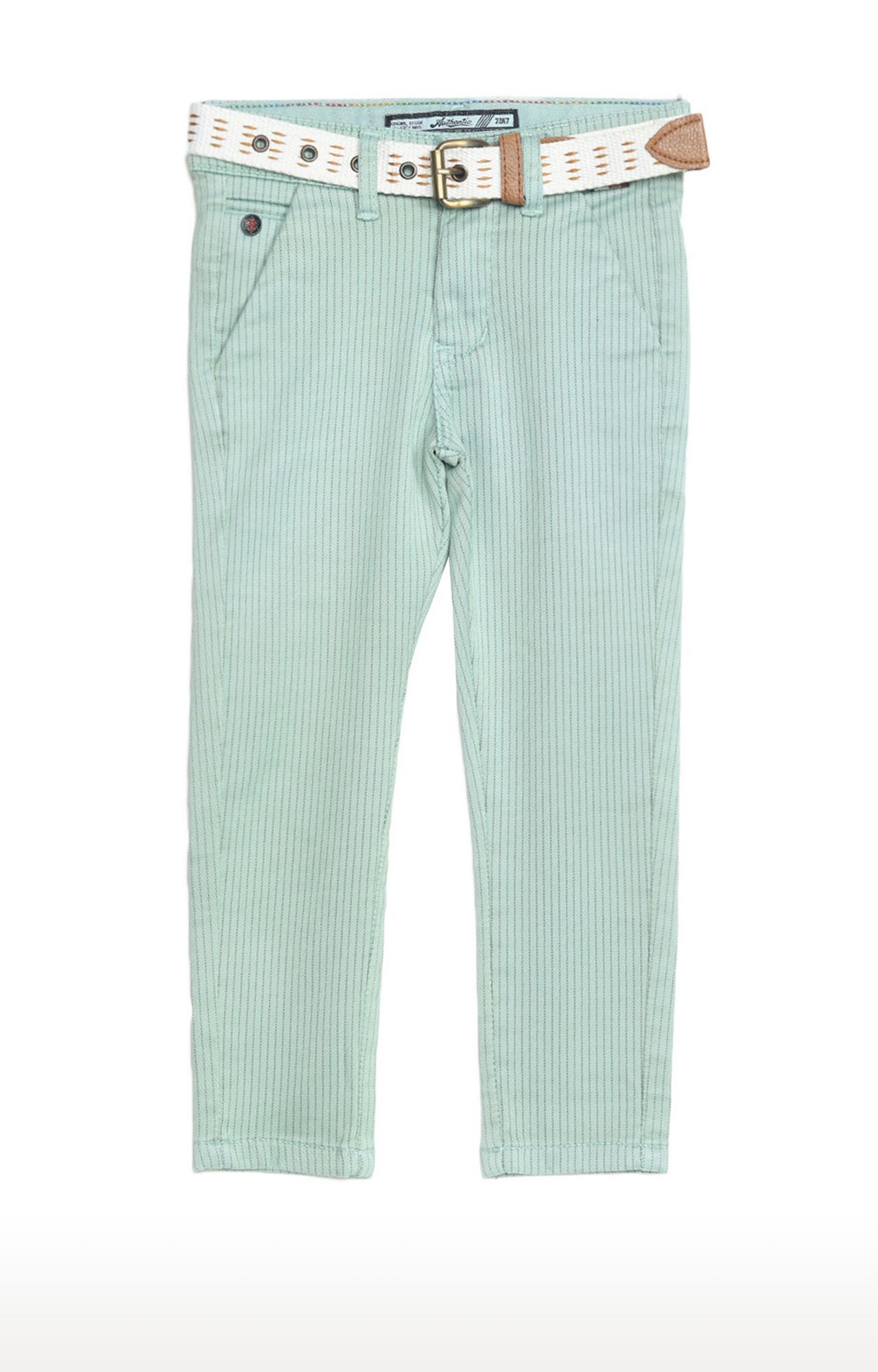 Tadpole | Pista Green Striped Regular-Fit Jeans