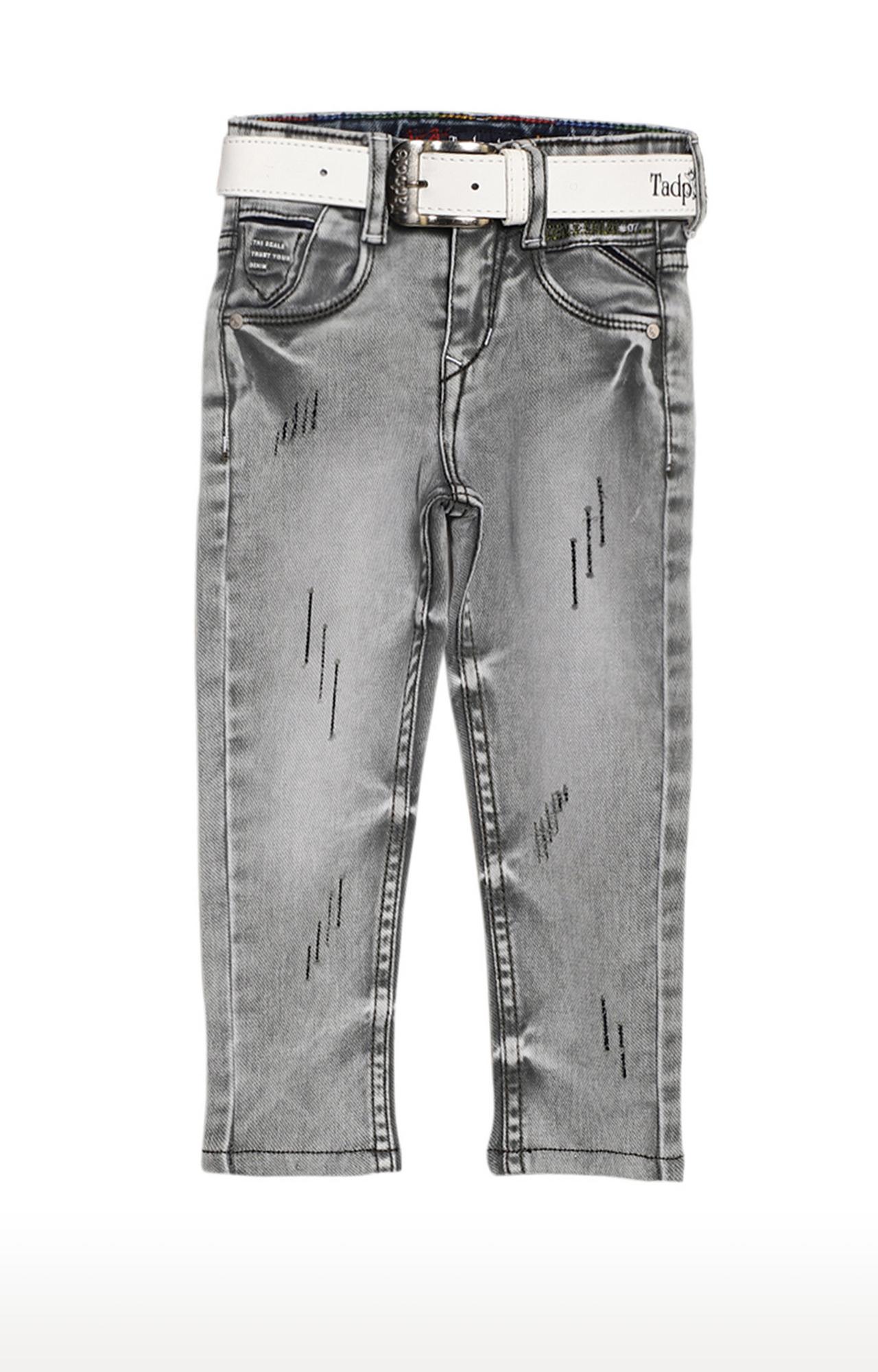 Tadpole | Grey Solid Regular-Fit Jeans