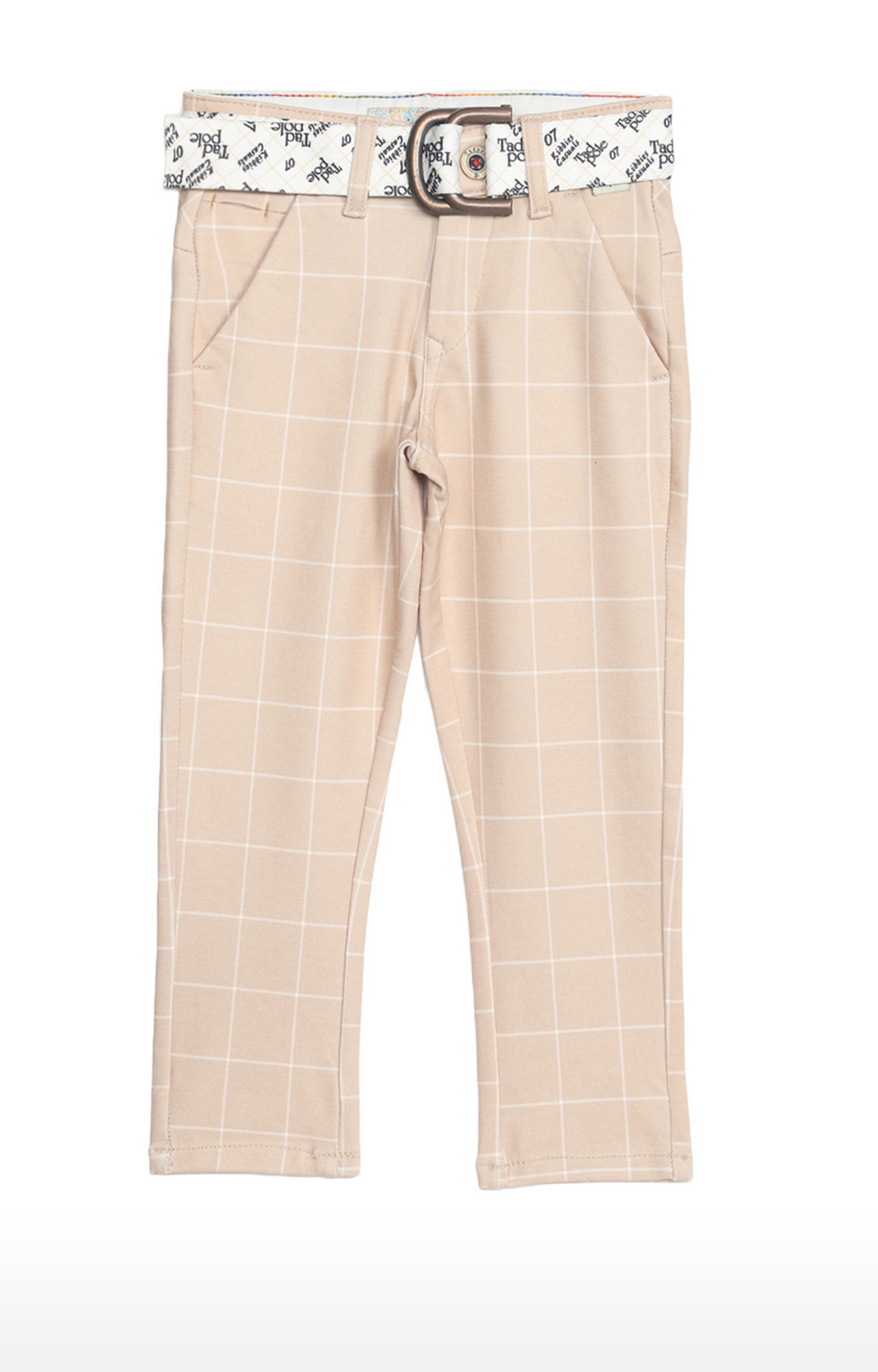 Tadpole | Beige Checked Regular-Fit Jeans