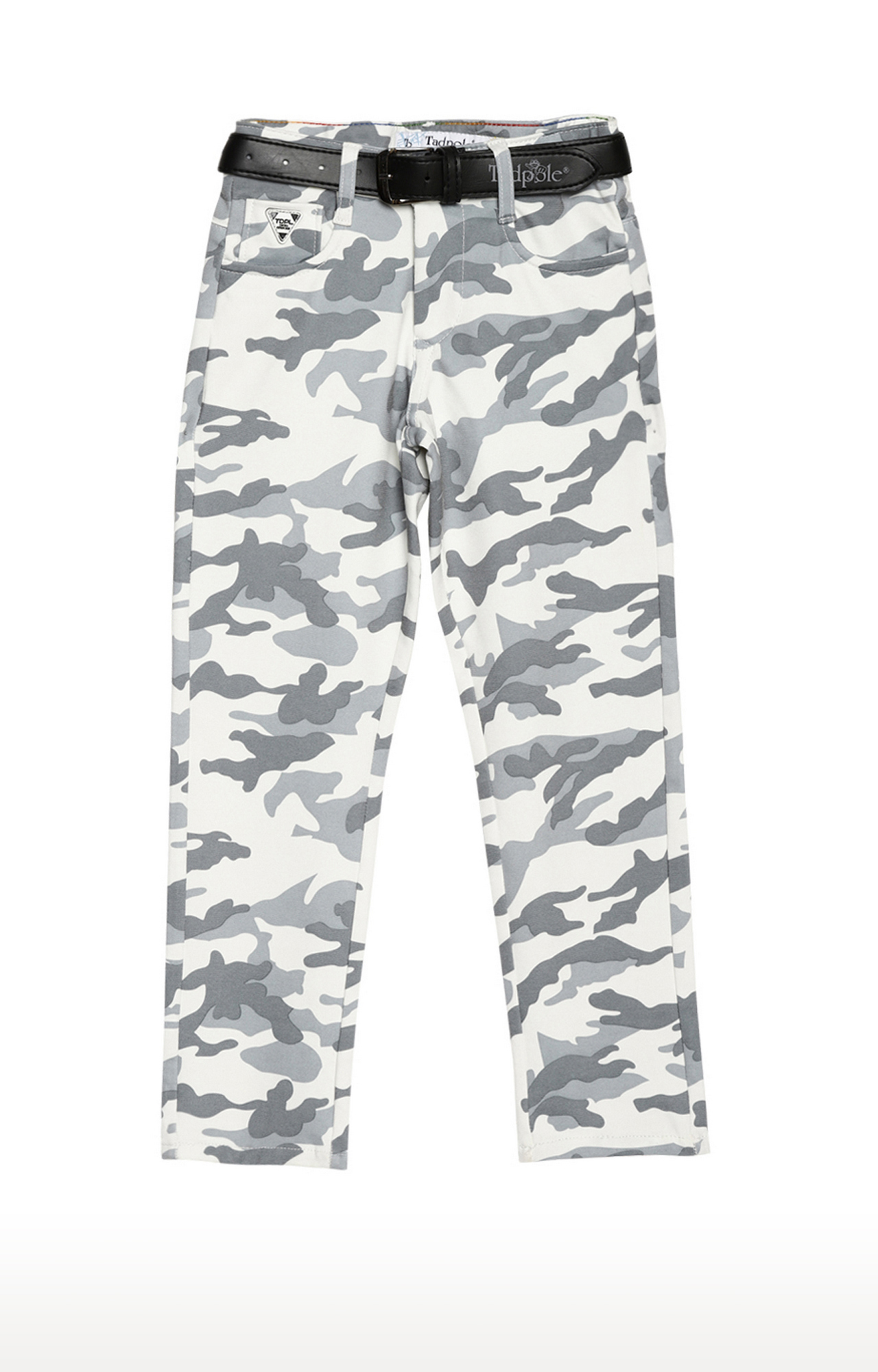 Tadpole | White and Olive Printed Regular-Fit Jeans