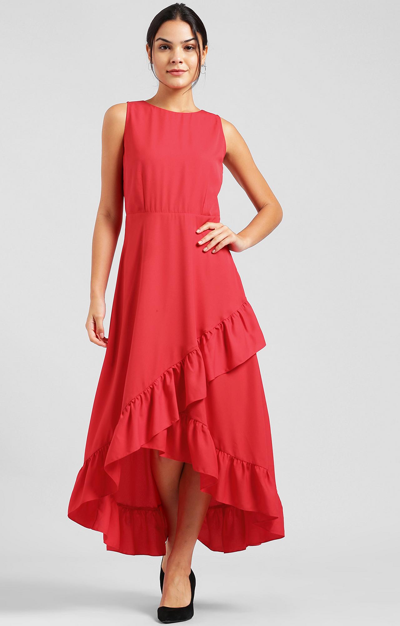 Zink London | Red Solid Asymmetric Dress