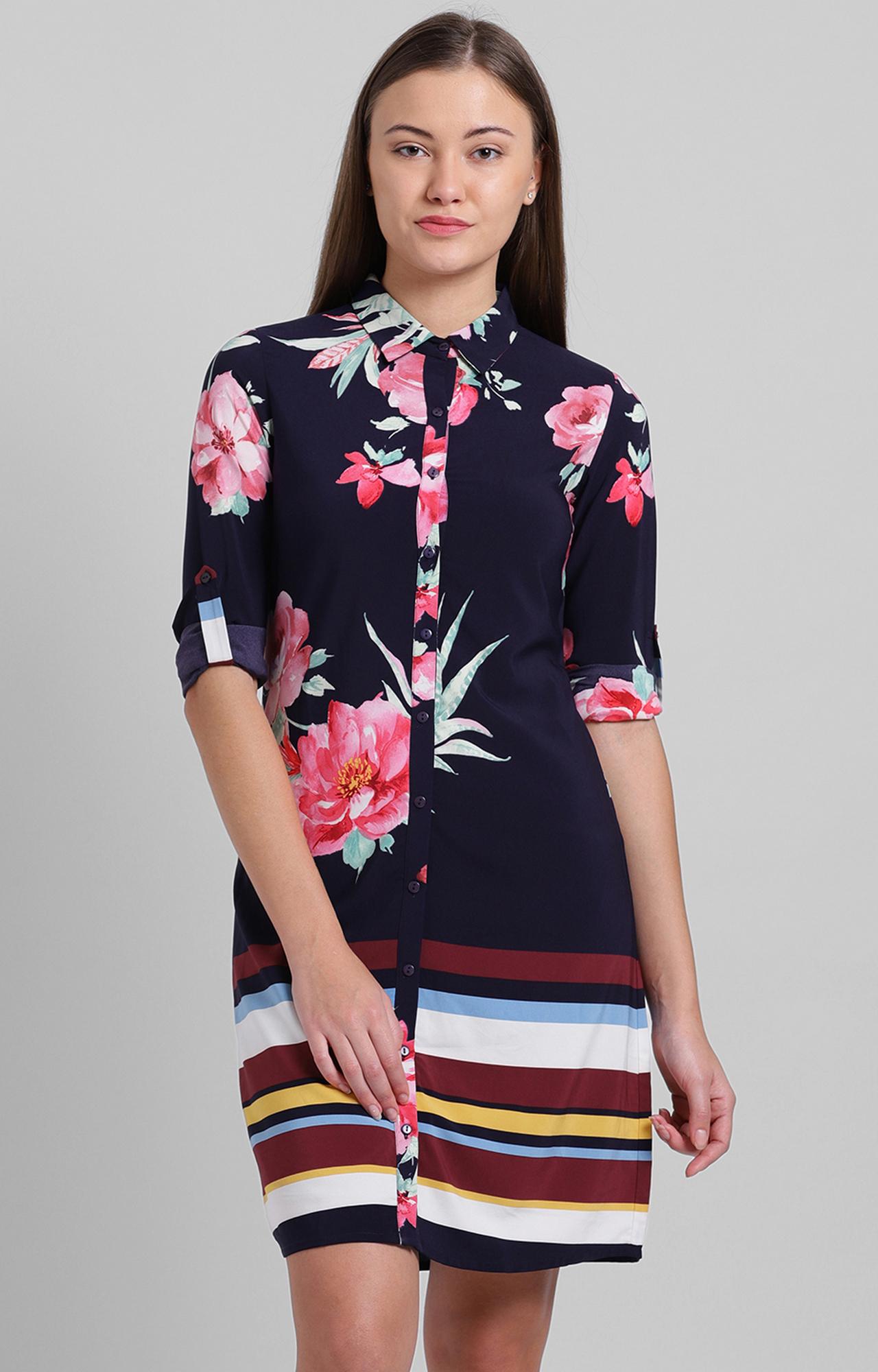 Zink London | Navy Floral Shirt Dress