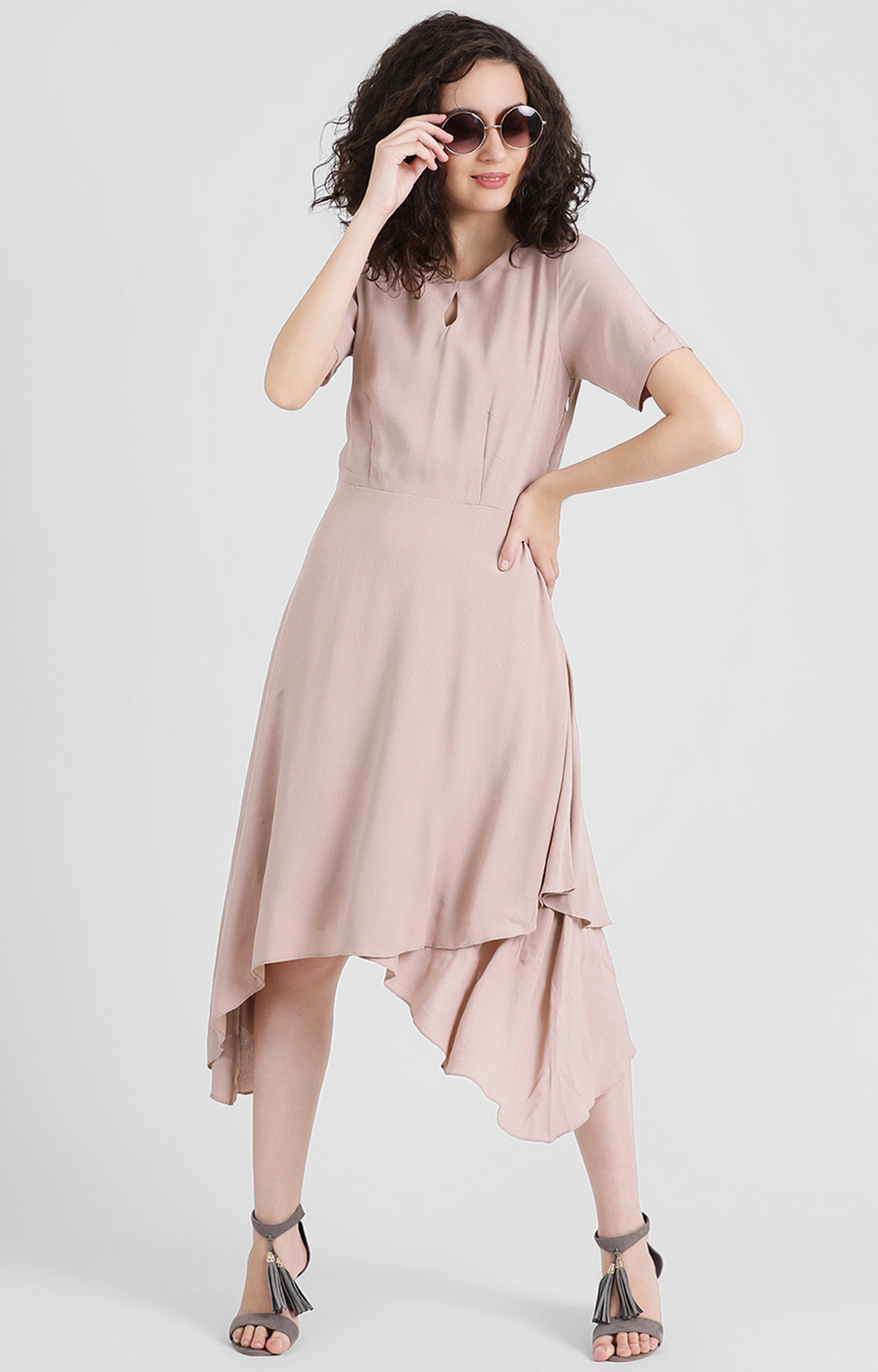 Zink London | Taupe Solid Asymmetric Dress