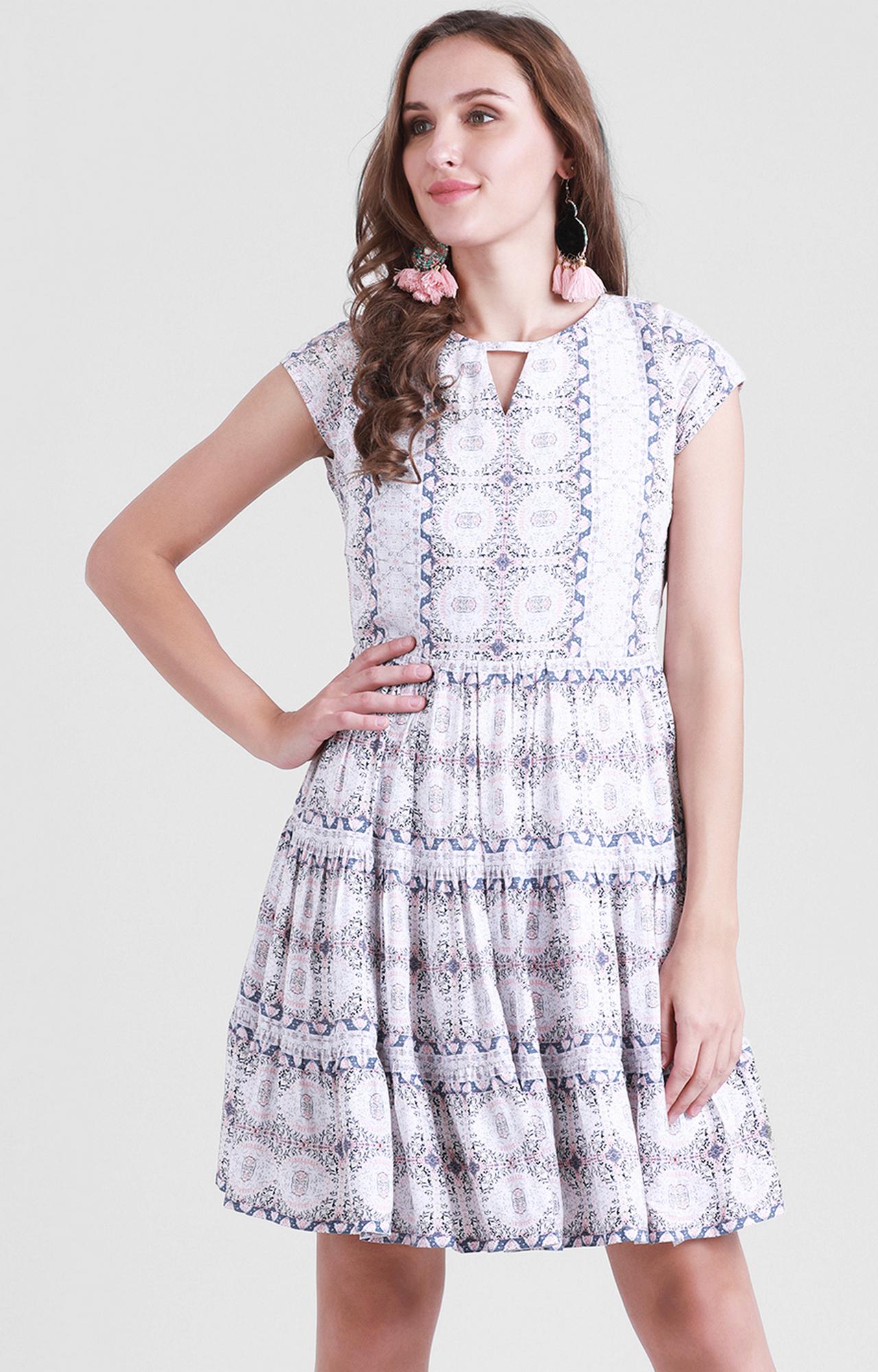 Zink London | White Printed Skater Dress