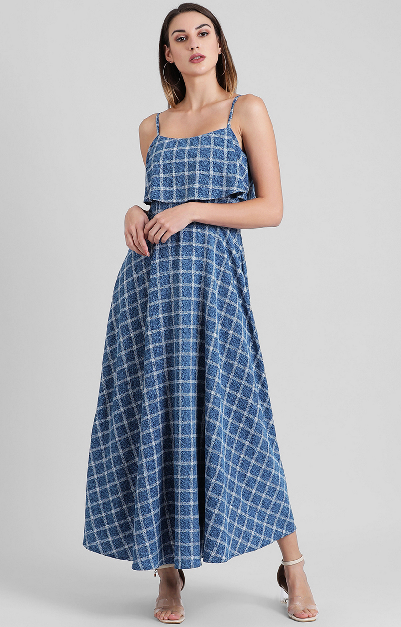 Zink London | Blue Checked Maxi Dress