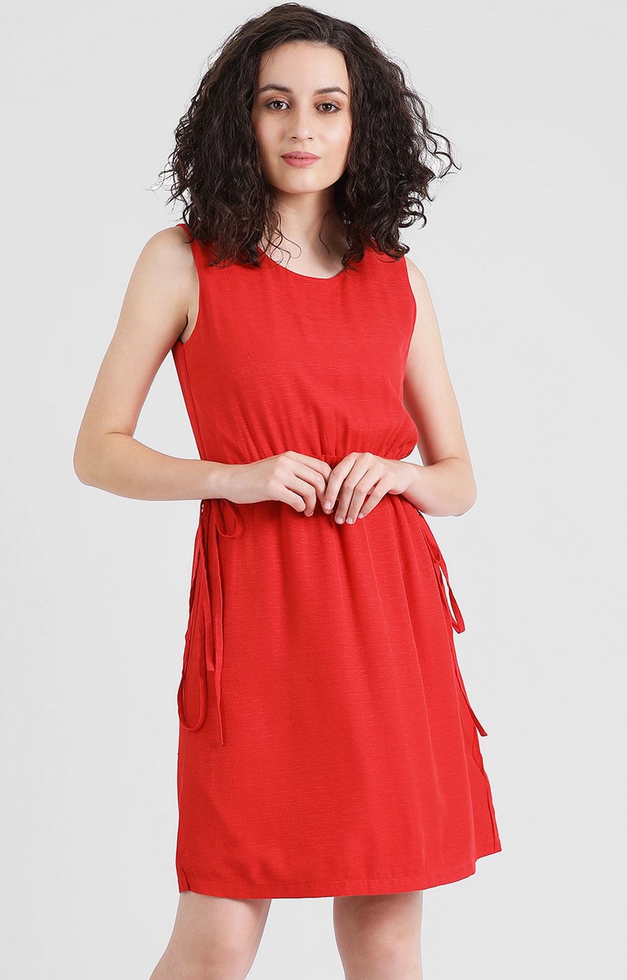 Zink London | Red Solid Shift Dress