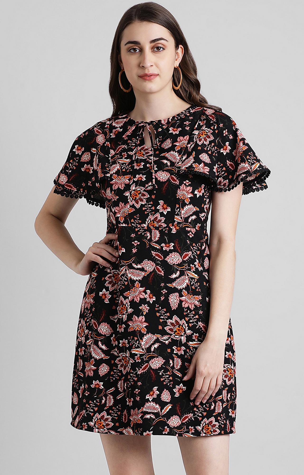Zink London   Black Floral Skater Dress