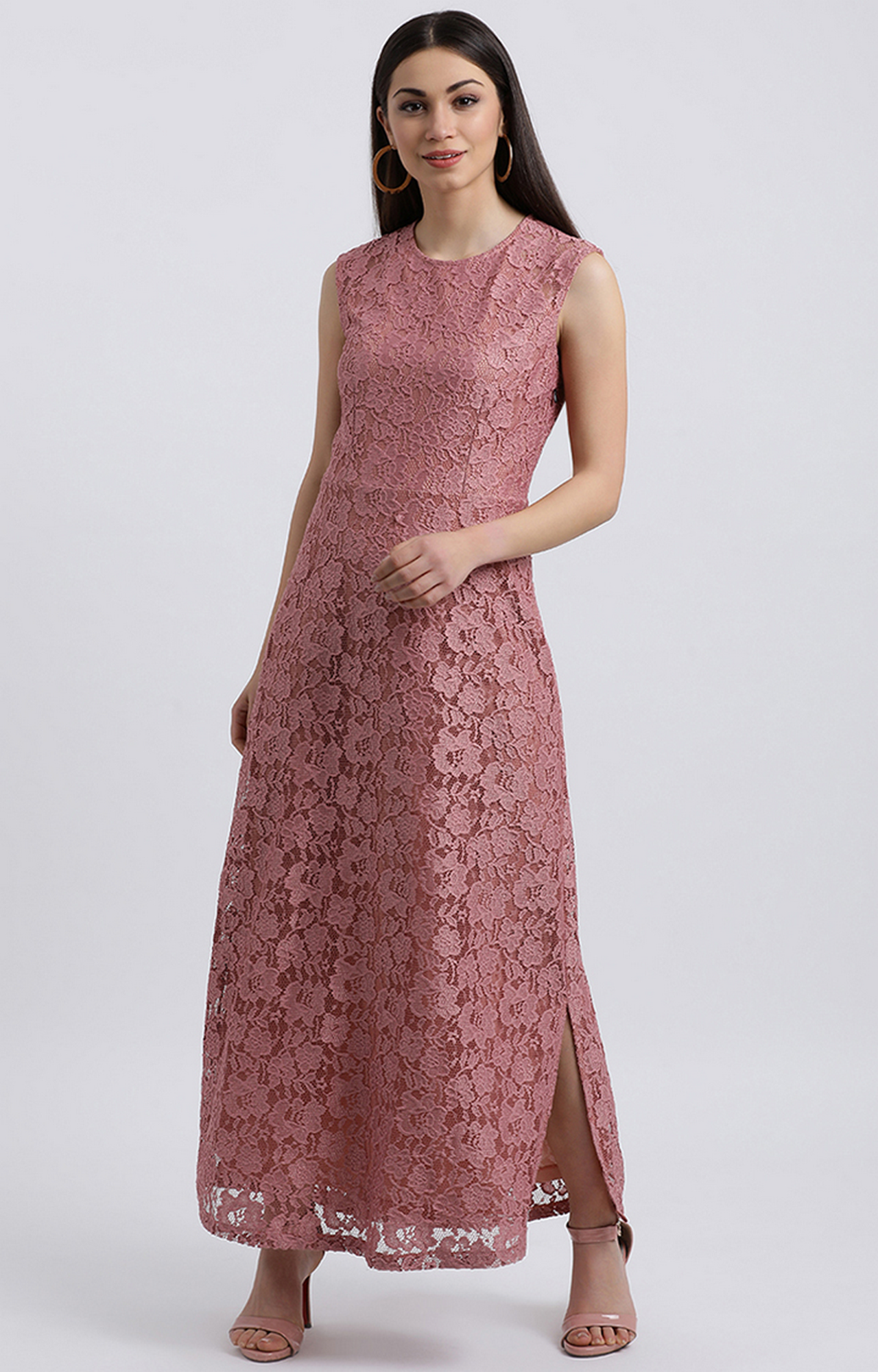 Zink London   Pink Embroidered Maxi Dress