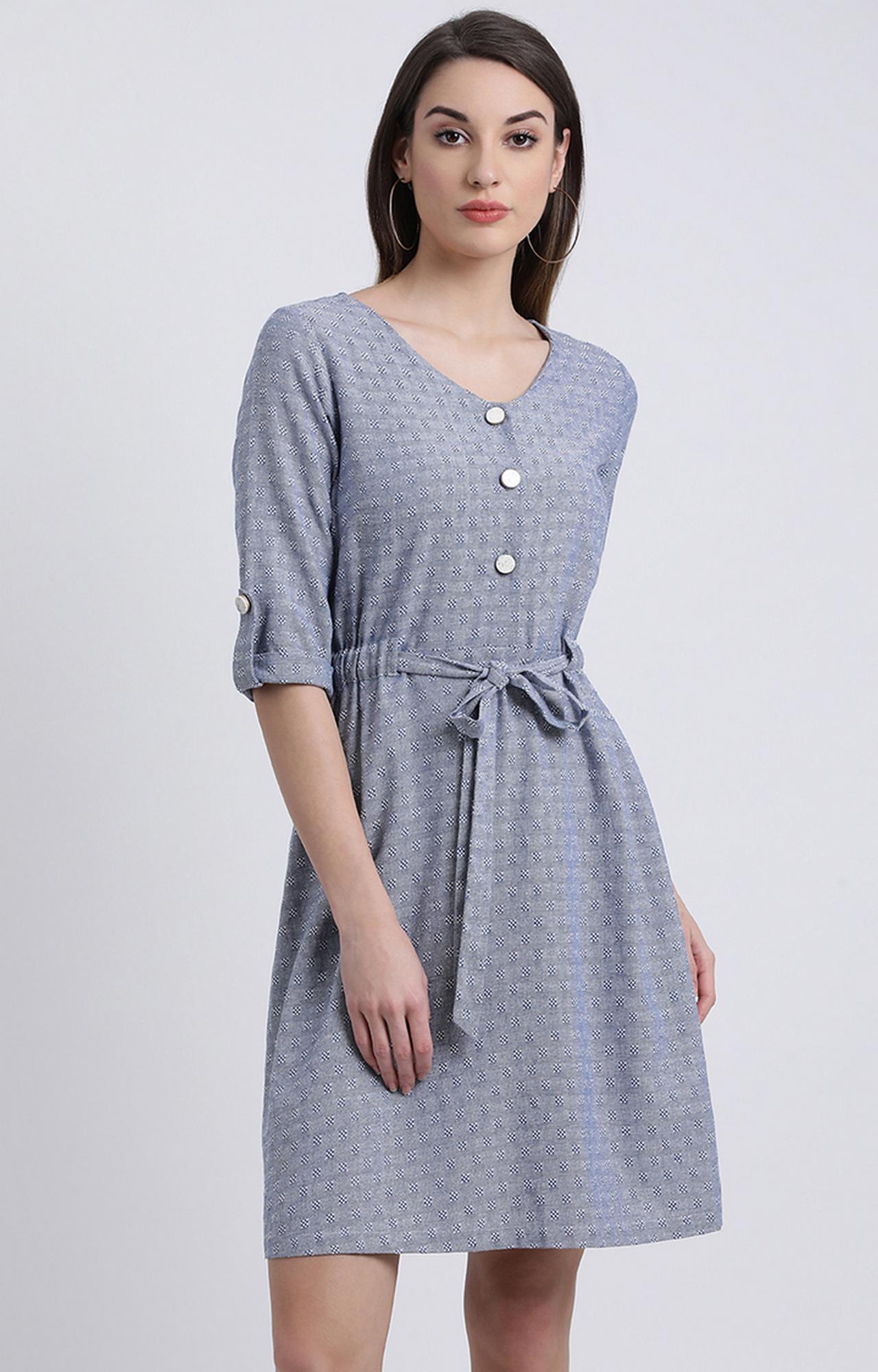 Zink London | Blue Printed Shift Dress