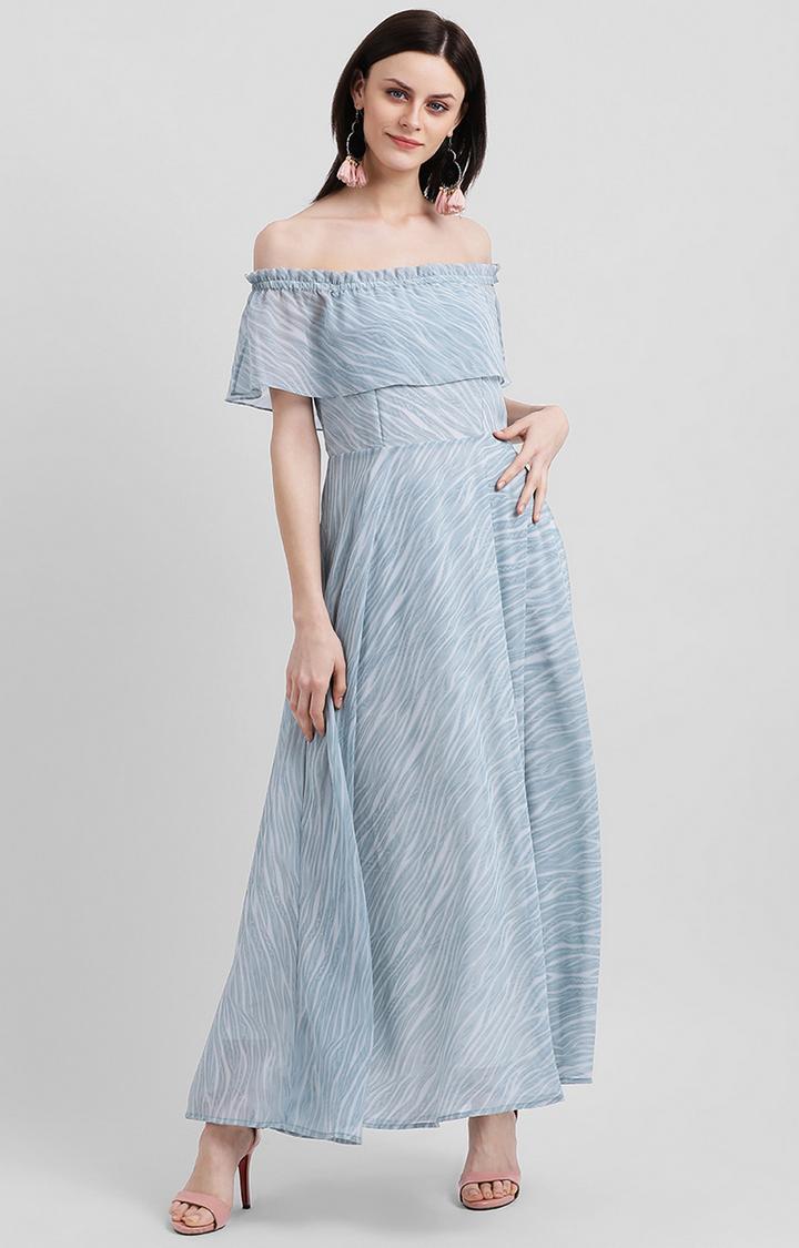 Zink London | Blue Striped Off Shoulder Dress