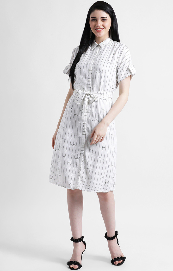 Zink London | White Striped Shirt Dress