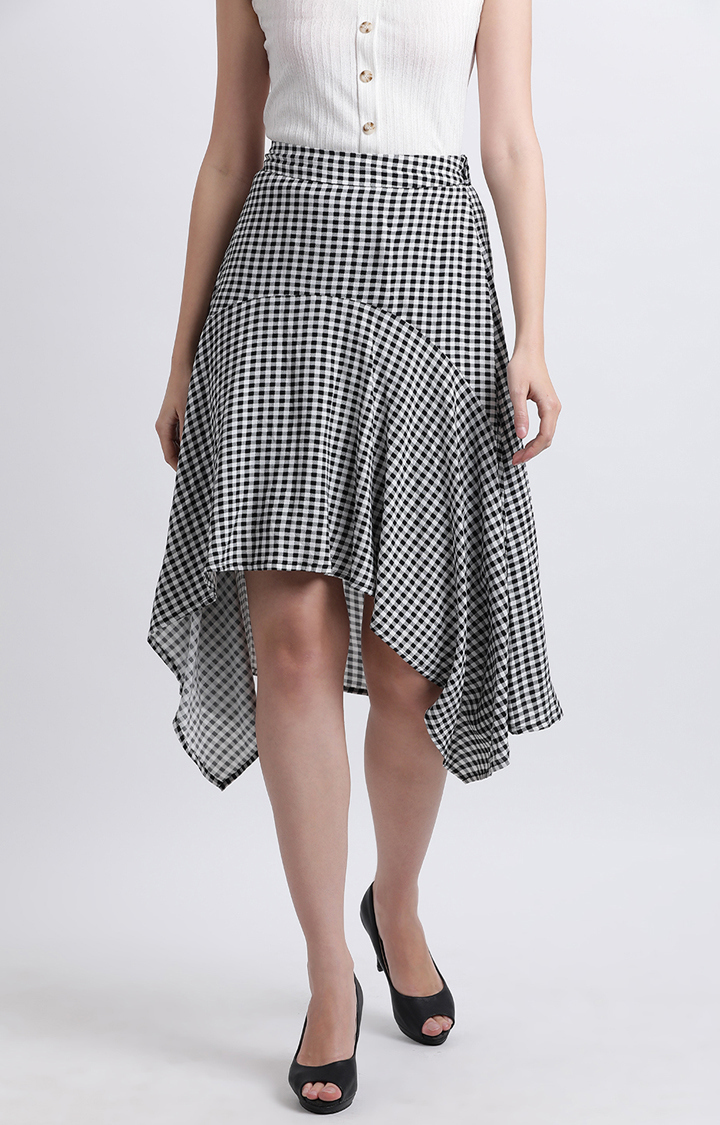 Zink London | Black and White Checked Asymmetric Skirt