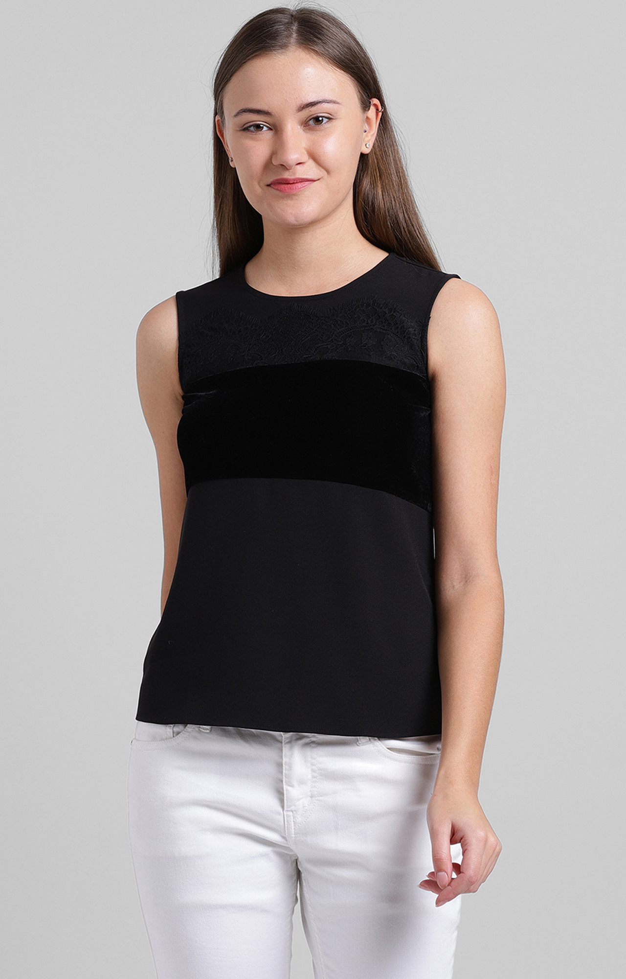 Zink London   Black Embroidered Top