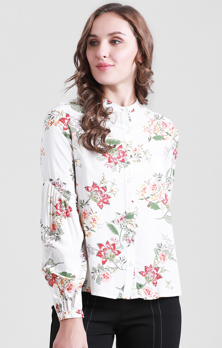 Zink London   Off White Printed Casual Shirt
