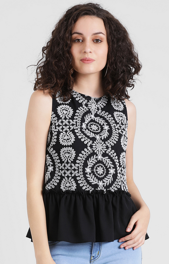 Zink London | Black Embroidered Top