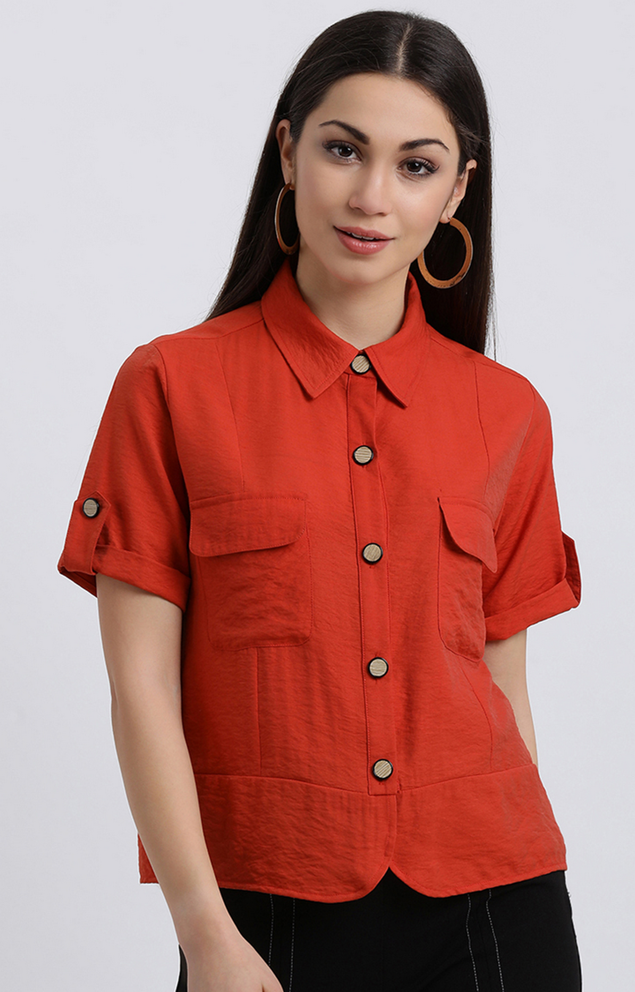 Zink London   Red Solid Casual Shirt