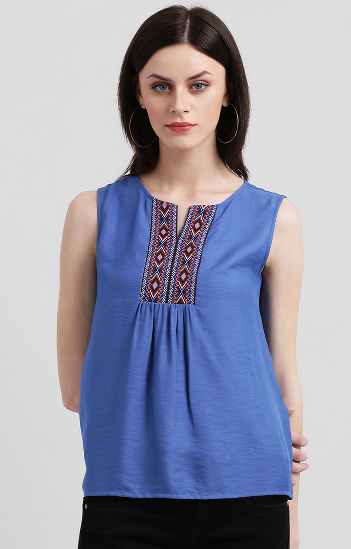 Zink London | Blue Solid Top