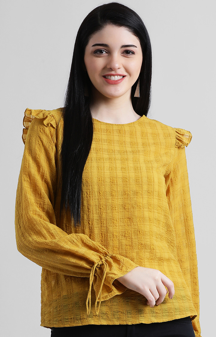 Zink London | Yellow Checked Top