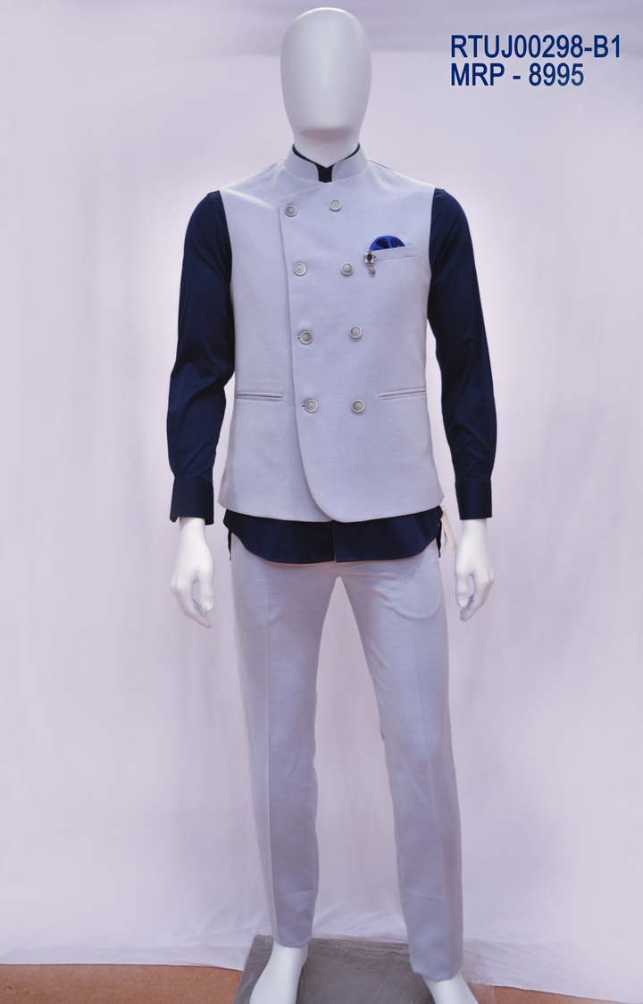 Ethnix by Raymond | Blue Solid Bundi Jacket