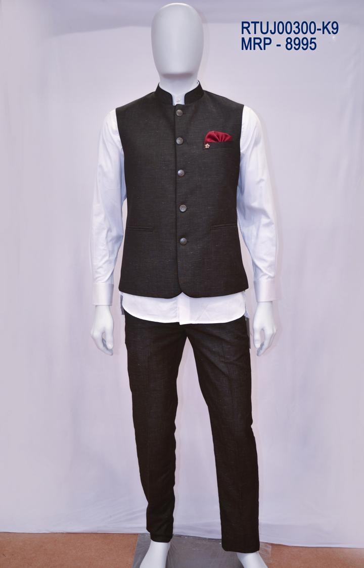 Ethnix by Raymond | Black Solid Bundi Jacket