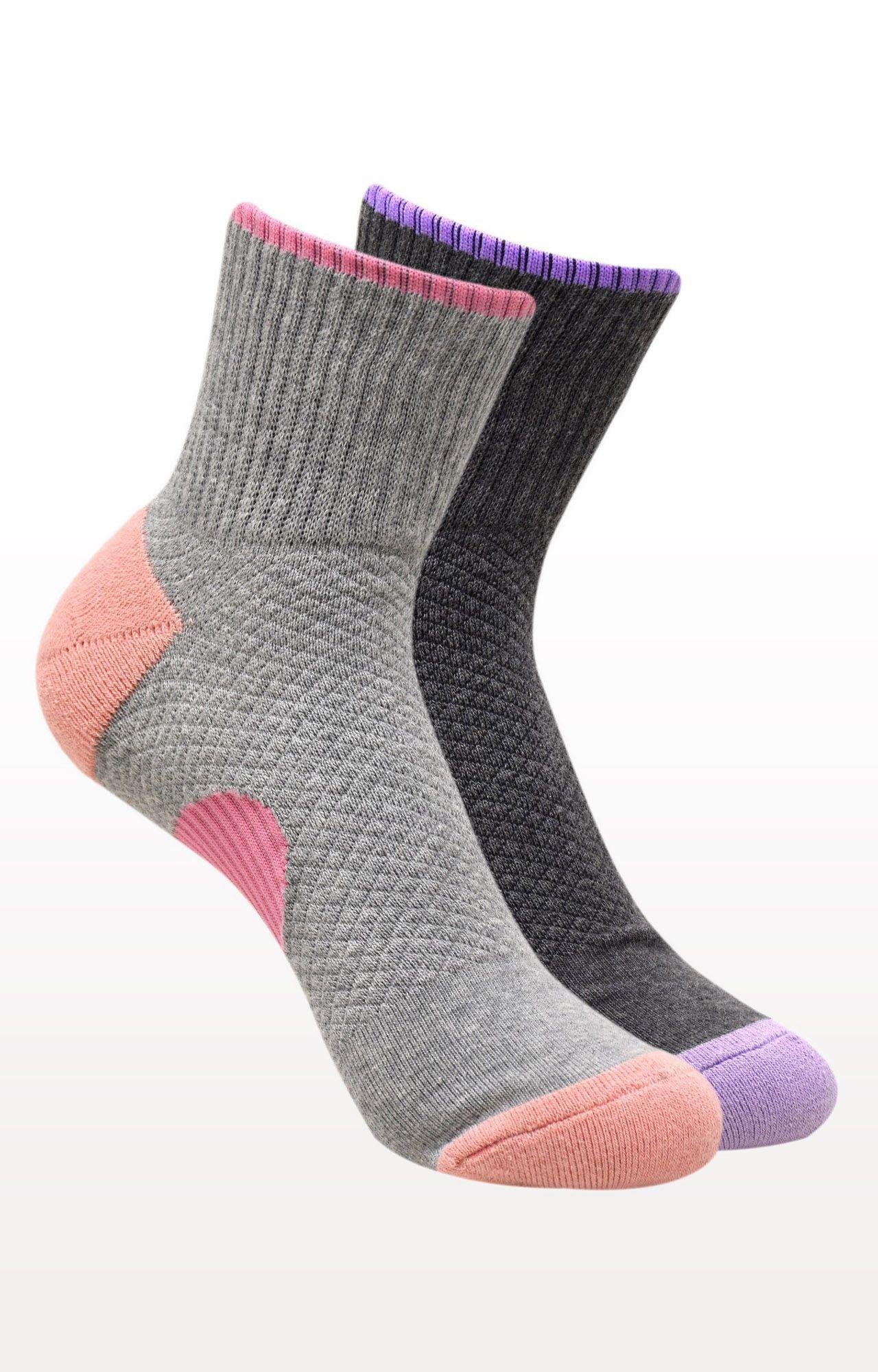 BALENZIA   Light Grey and Dark Grey Printed Socks - (Pack of 2)